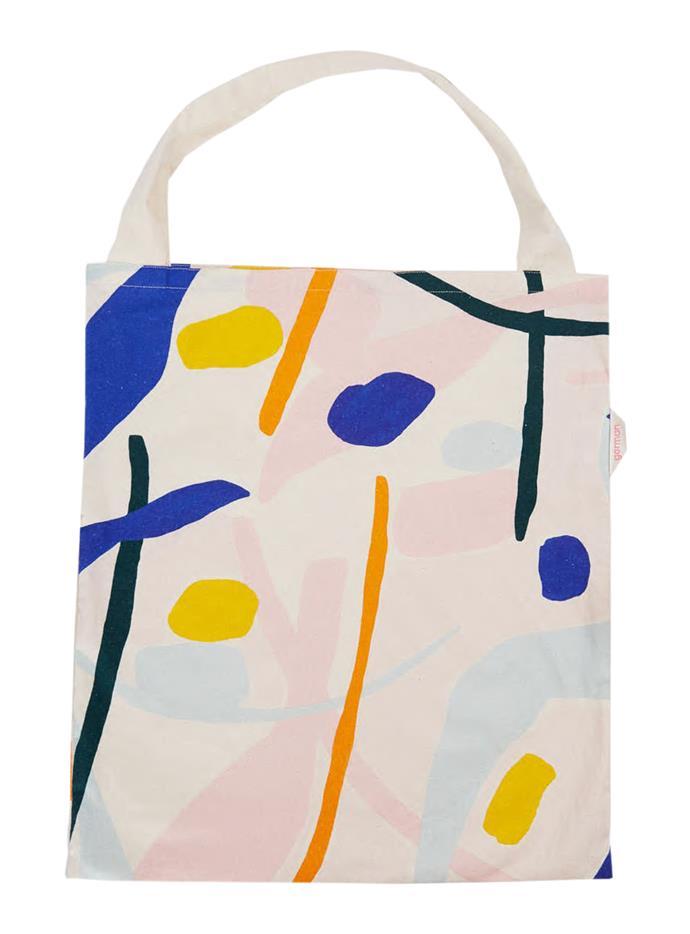 "Dancing Water calico bag, $39, from [Gorman](https://www.gormanshop.com.au/ target=""_blank"" rel=""nofollow"")."