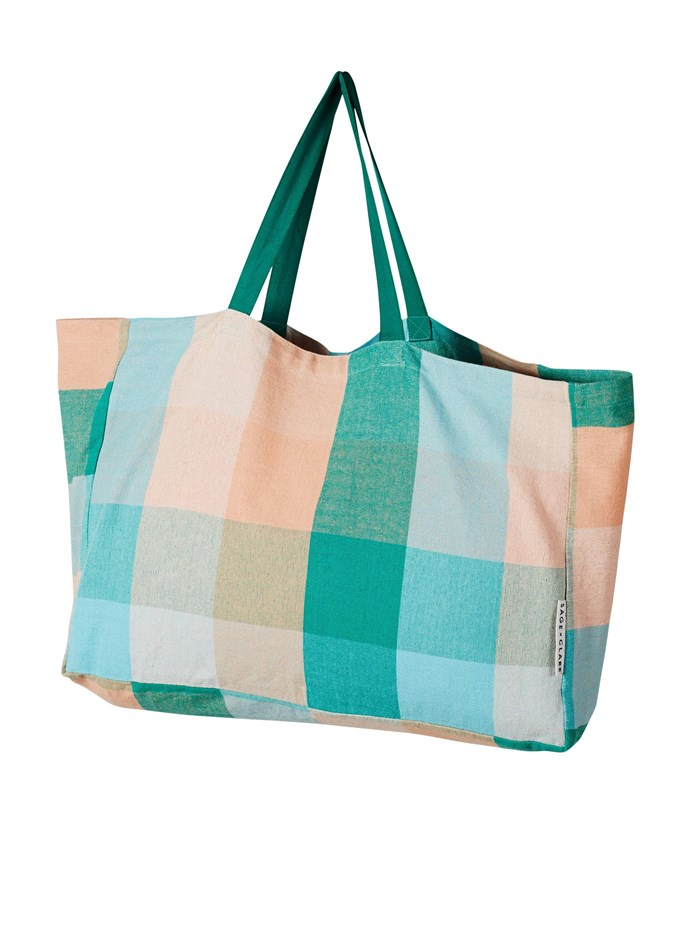 """Chelsea Check cotton canvas bag, $79, from [Sage & Clare](https://sageandclare.com/