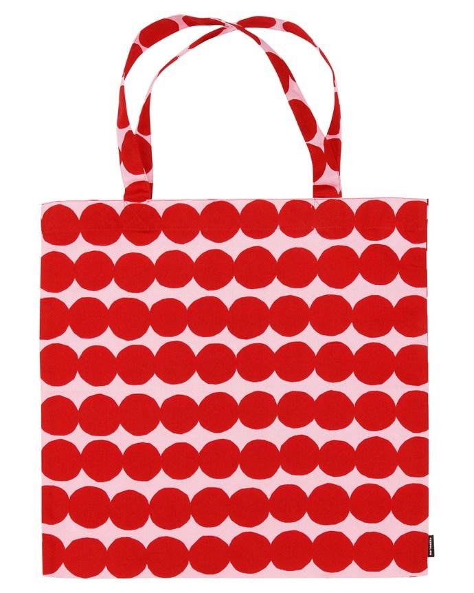"Räsymatto print cotton bag, $46, from [Marimekko](https://www.marimekko.com/au_en/|target=""_blank""|rel=""nofollow"")."