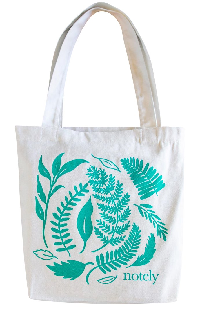"""Leafy Tote cotton canvas bag, $29.95, from [Notely](https://notely.com.au/