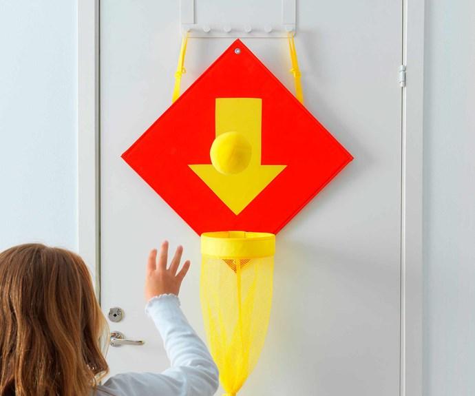 "LUSTIGT basketball hoop with ball/door hamper, $14.99, [IKEA](https://www.ikea.com/au/en/|target=""_blank""|rel=""nofollow"")."