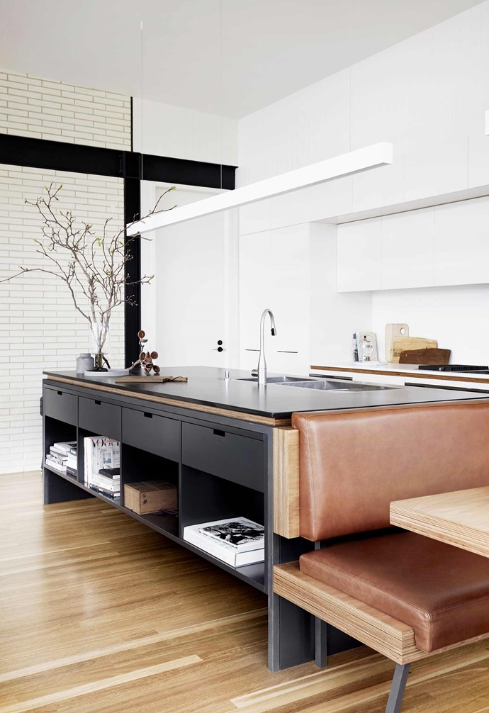"""**Kitchen** The monochrome palette – with cabinets in two-pack polyurethane in [Dulux](https://www.dulux.com.au/
