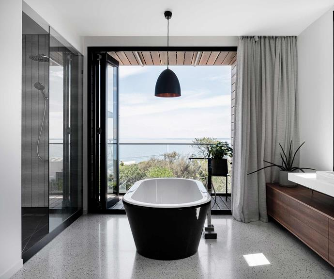 "**Bathroom** Soft curtains allow for the option of privacy, while still welcoming sunlight into the [bathroom](https://www.homestolove.com.au/15-bathrooms-with-clever-ideas-to-steal-18869|target=""_blank""). The generous [bathtub](https://www.homestolove.com.au/bathtub-buyers-guide-19347