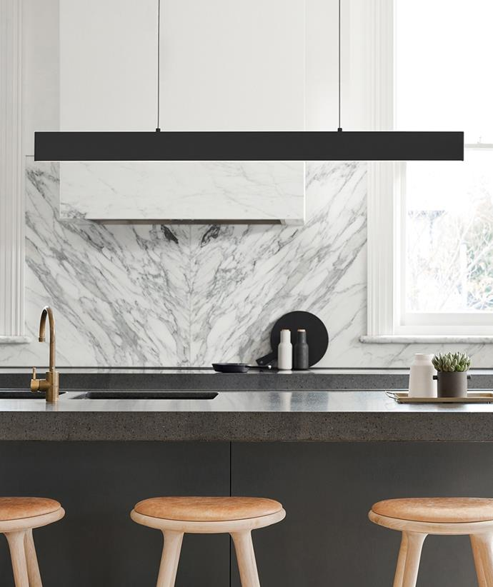 This angular pendant light celebrates a simple design and is a great addition to a Scandi style kitchen. *Image / supplied*
