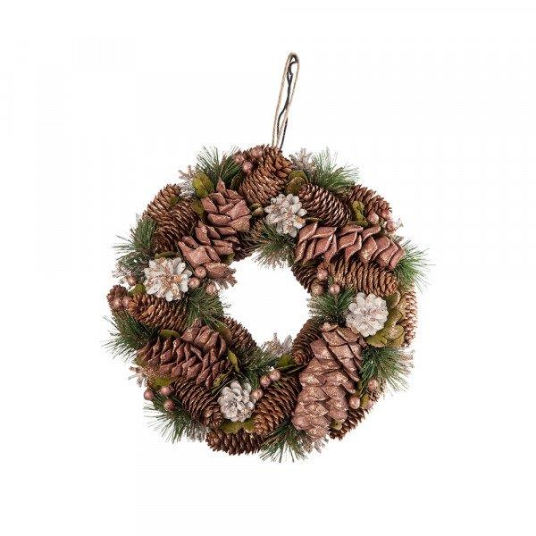 "Ivy golden pinecone wreath, $49.99, from [Dusk](https://www.dusk.com.au/products/ivy-golden-pinecone-wreath|target=""_blank""
