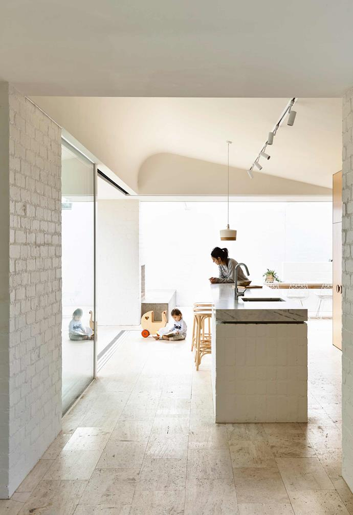 """**Material palette** To ensure consistency between the original home and the new addition, a simple material palette of white [painted brick](https://www.homestolove.com.au/painted-brick-home-exterior-6695
