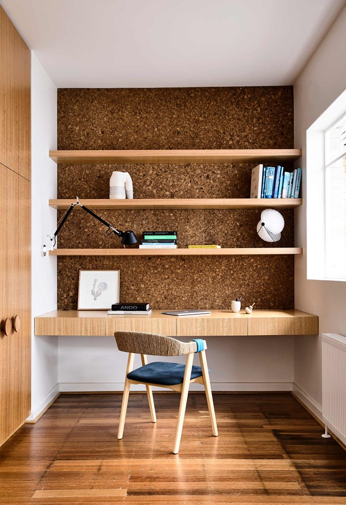 "**Study** This [study nook](https://www.homestolove.com.au/12-creative-ways-to-create-a-study-nook-in-your-home-17963|target=""_blank"") is a dynamic burst of colour compared to the rest of the home with inbuilt shelving on the wall and a built-in desk. A textured feature wall backs the nook and is paired with timber cabinetry and timber flooring. *Design: [Kennedy Nolan](http://www.kennedynolan.com.au/