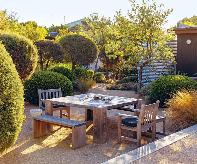 **Back garden** The seating area features elegantly contoured clipped natives and a rustic timber table adorned with coastal finds.