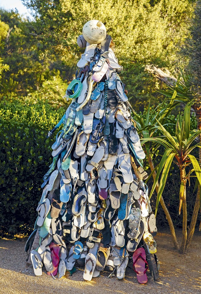 **'Tis the season** The 'Thong Tree' is made from flip-flops Fiona has found washed up on the beach over the years.