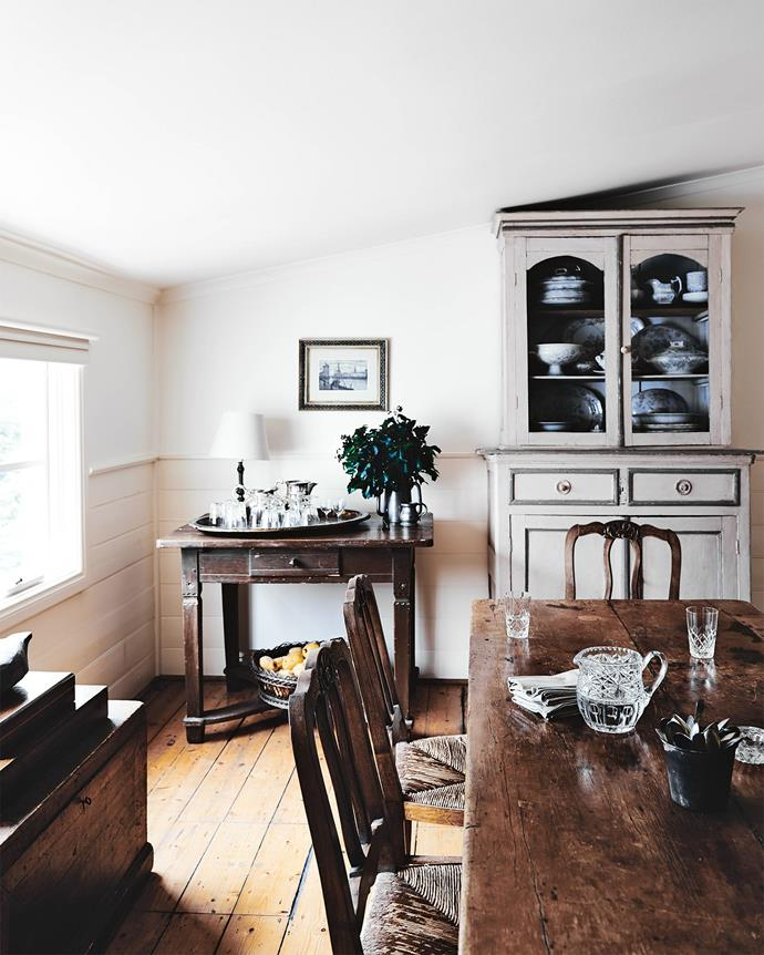 """When they moved into the cottage they soon realised it was made for them. There was a place for all the family's furniture and antiques, """"a mish-mash of pieces we'd always had."""""""