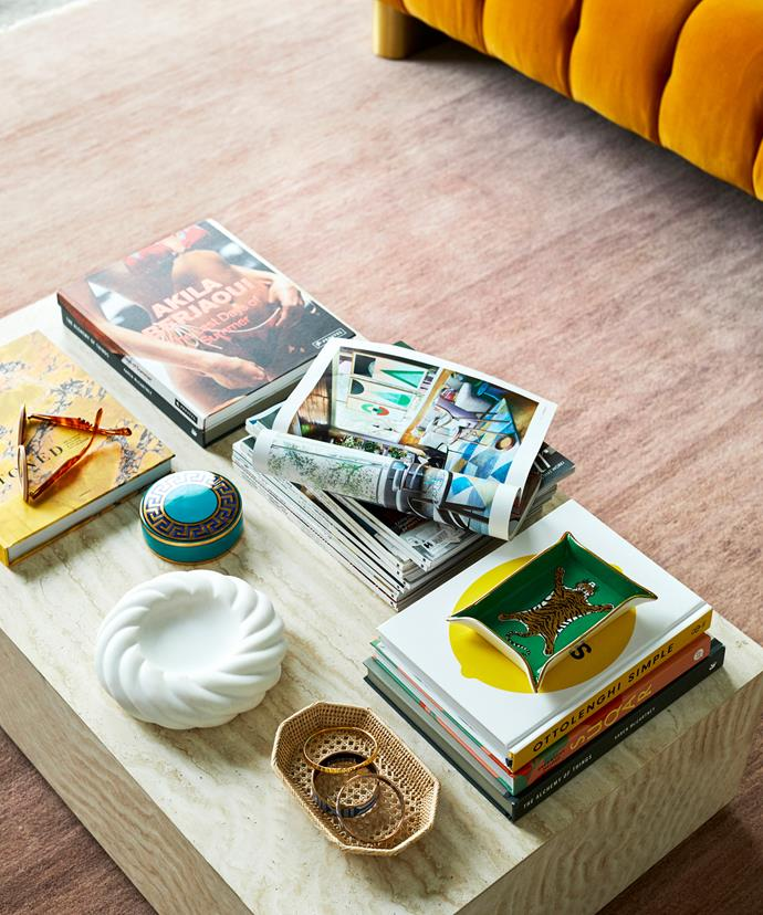"When styling books and magazines on a coffee table, it's a good idea to leave one open to encourage flicking.   **ON THE TABLE**: 'Rope' **bowl** in bianco, $1303, from [Greg Natale](https://shop.gregnatale.com/products/rope-bowl|target=""_blank""