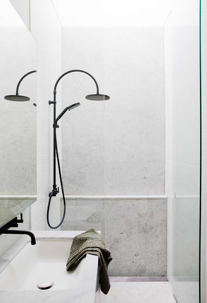 **Ensuite bathroom** Natural light floods in through a skylight installed directly above the shower, allowing the matt-black Brodware taps to stand out.
