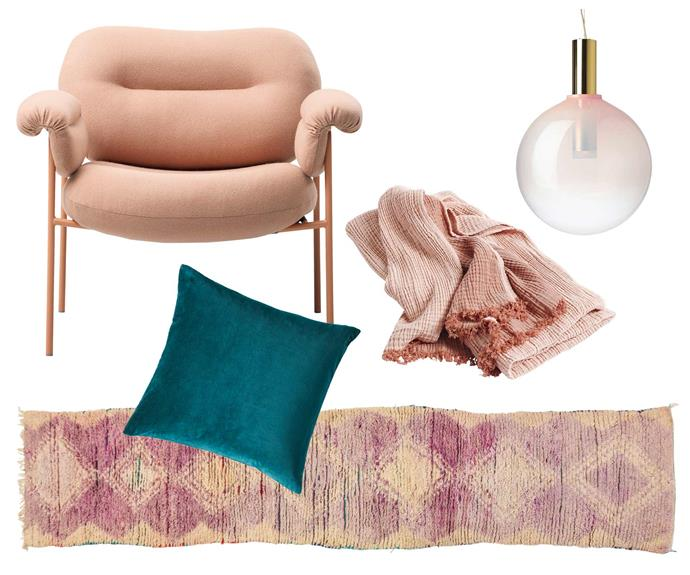 "**Blushing beauty** A soothing palette mixing pieces in jewel tones and gently blushing shades is a subtle way to introduce colour and create a relaxing atmosphere. **Get the look** (clockwise left to right) Fogia 'Bollo' armchair, $4433, [Fred International](https://fredinternational.com.au/|target=""_blank""