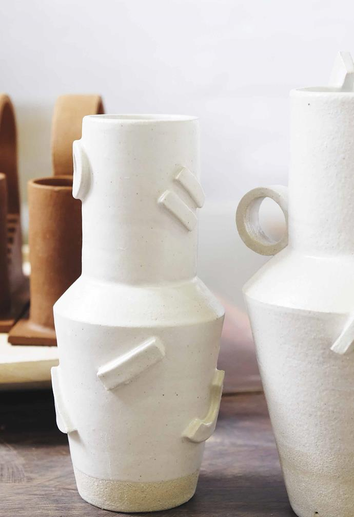 More geometric shapes decorate the outside of a neutrally glazed vessel. *Photography: John Gayler*.