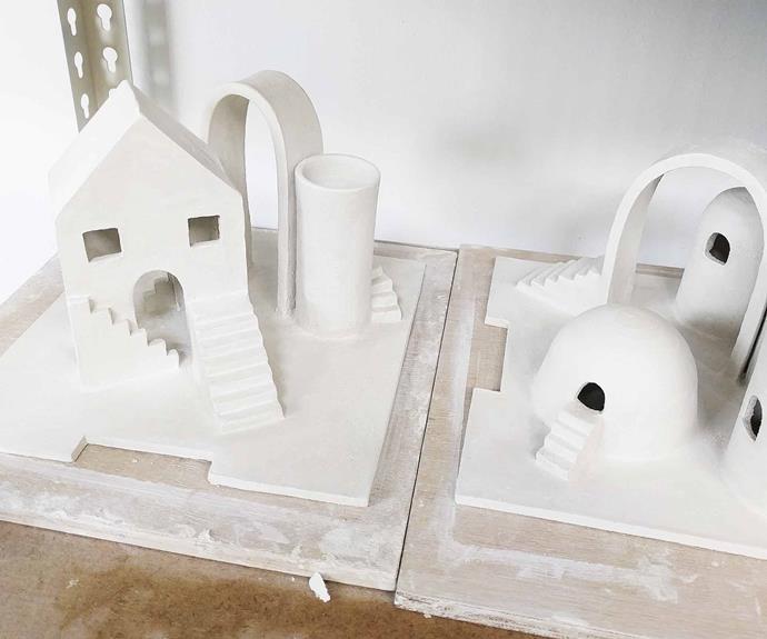 Grace Brown's miniature cities before glazing. *Photography: John Gayler*.