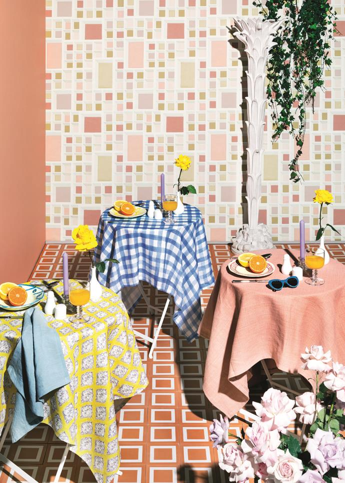 An outdoor dining space has been brought to life with an eclectic mix of lemon yellows, peach, lilac and, of course, coral. *Photo: Jem Cresswell*