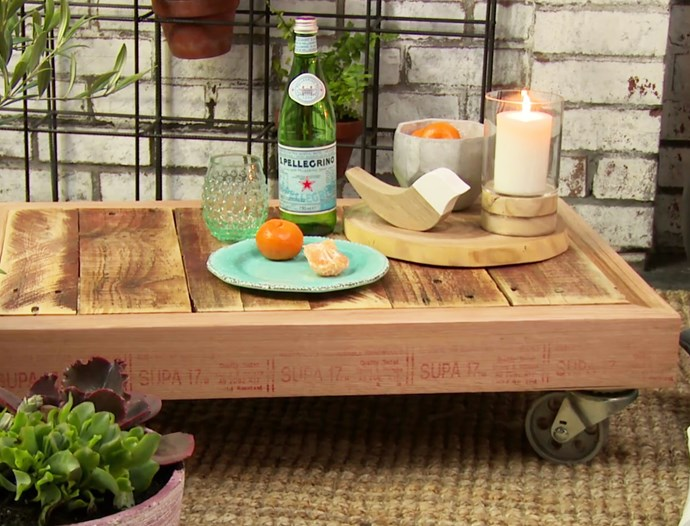 "Find out how to make a pallet coffee table with this [step-by-step guide](https://www.bunnings.com.au/diy-advice/outdoor/outdoor-living/diy-outdoor-pallet-coffee-table-on-wheels|target=""_blank""