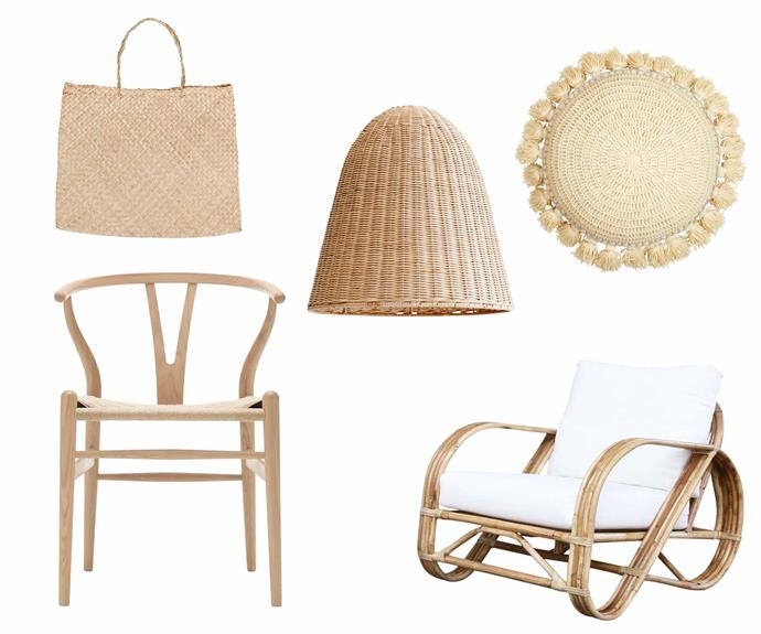"""**Twists and turns** Natural materials are crafted into tactile woven pieces to set a relaxed tone in this beachy home, perfectly highlighting its sunny seaside location. **Get the look** (clockwise let to right) 'Basse' bag, $39, [Olli Ella](https://au.olliella.com/