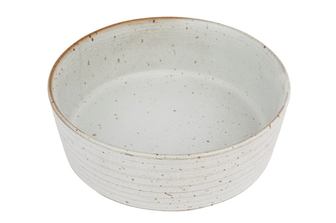 "Large Speckle Bowl in Seagrass, $85, [Zakkia](https://www.zakkia.com.au/speckle-bowl-large-seagrass|target=""_blank"")"