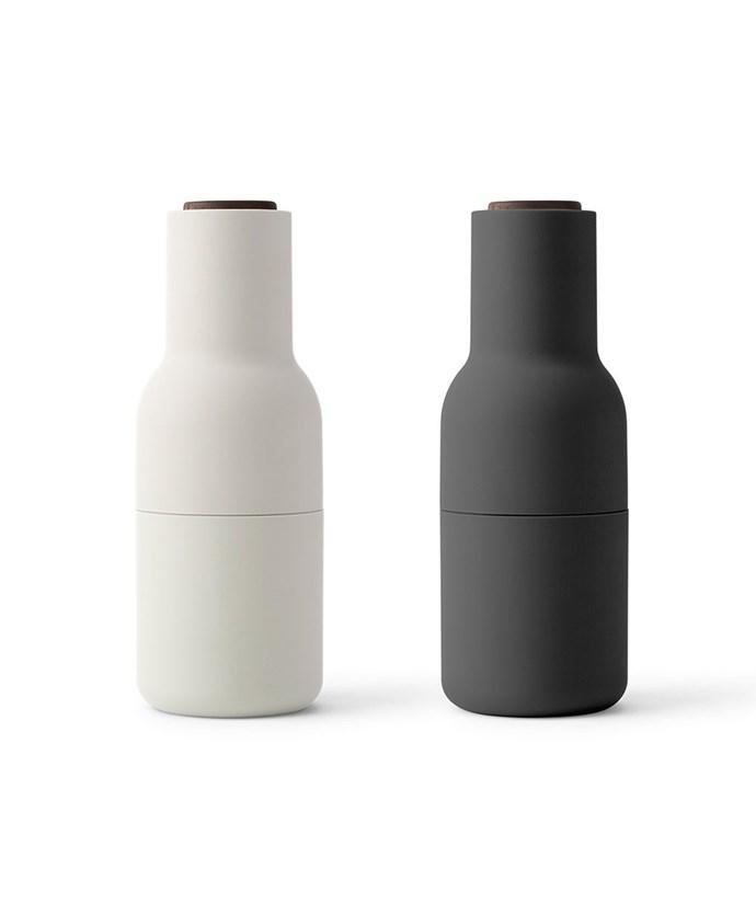 """Menu Norm Bottle Grinder 2 pack, $139.95, [Hunting For George](https://www.huntingforgeorge.com/norm-bottle-grinder-2-pack-menu target=""""_blank"""" rel=""""nofollow"""")"""