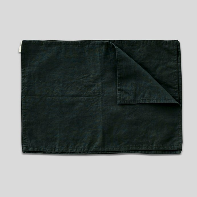 "100% Linen Placemat Set in Pine, $65, [In Bed Store](https://inbedstore.com/shop/kitchen/linen-placemat-set-pine-green/|target=""_blank""