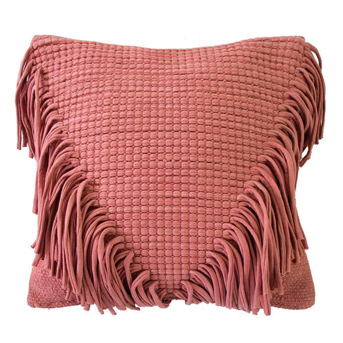 "'Jata' cushion in Clay, $84.05, [Bambury](https://www.bambury.com.au/|target=""_blank""|rel=""nofollow"")"