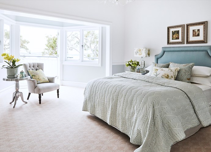 """Porter's Paints Chintz Grey (half strength) is used below the dado rail and in the nook. """"I wanted wallpaper, but Stephen wouldn't let me,"""" says Judy, laughing. The artworks are limited-edition Norman Lindsay prints."""
