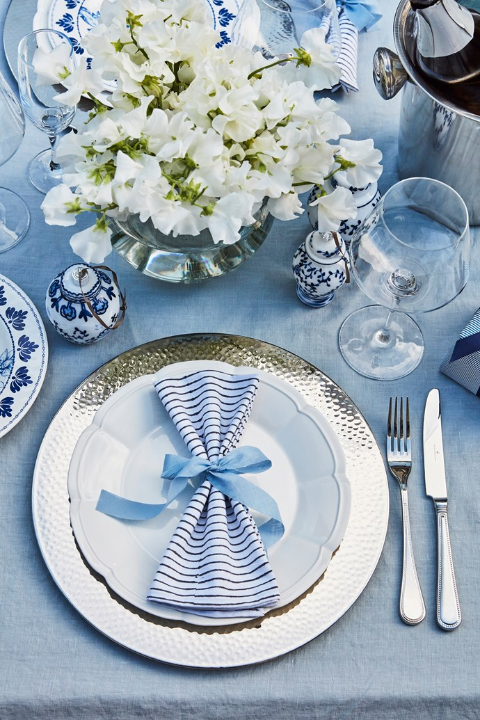 """""""My Christmas table always has a tablecloth and touches of silver and gold,"""" says Judy."""