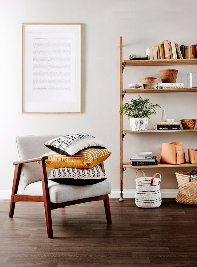 A collection of books and objects in complementary tones, colours and textures creates a cohesive and eye-pleasing display. *Photo:* Will Horner / *bauersyndication.com.au*