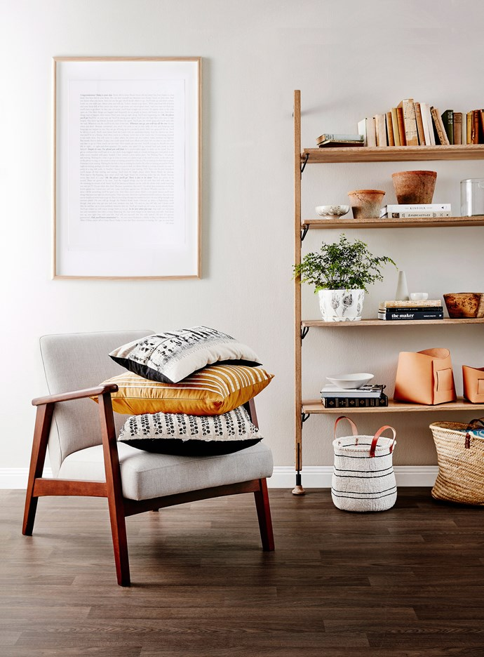 A collection of books and objects in complementary tones, colours and textures creates a cohesive and eye-pleasing display. Photo: Will Horner / *bauersyndication.com.au*