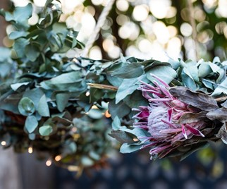 DIY hanging floral wreath