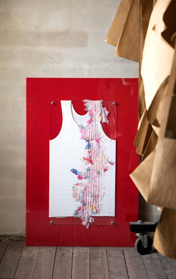 Customised Bonds singlet with applique from Akira's 2004 Spring Summer collection.