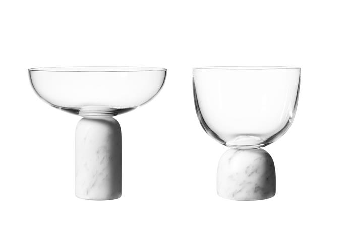 "Make a statement with these striking designs by British designer Lee Broom. They're crafted from fine lead crystal with a solid Carrara marble base. A matching martini glass is also available. <br><br> 'On the Rock' Champagne coupe (left) and wine glass, both $191, [Space](https://www.spacefurniture.com.au/?gclid=CjwKCAiAo8jgBRAVEiwAJUXKqHErwOdxx6O8acSU4mC-5UgFbnM4_AyvrrzENYjfq_PUqX8PNxc9lhoCA8kQAvD_BwE|target=""_blank""