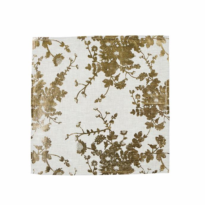 """Printed by hand with gold foil, these 45x45cm linen napkins will shine a little magic on your special-occasion setting. After the party, wash them by hand or pop in a cold machine cycle.  <br><br> 'Field Floral' napkin in Gold, $145/six, [Bonnie and Neil](http://www.bonnieandneil.com.au/ target=""""_blank"""" rel=""""nofollow"""")"""