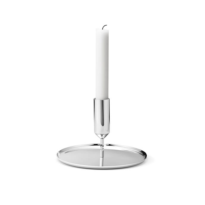"""A clean and contemporary take on a time-honoured form, this 11cm-high Scandinavian design is sure to make any dinner party all the more special. The mirror-polished stainless steel creates soft, romantic reflections of flickering candlelight.  <br><br> 'Tunes' candleholder, $65, [Georg Jensen](https://www.georgjensen.com/en-au target=""""_blank"""" rel=""""nofollow"""")"""