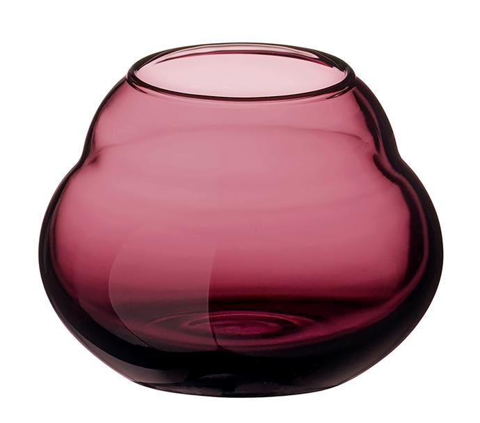 "The sumptuous, curvy lines of this , 17cm-high handmade crystal piece were inspired by the shape of closed blossoms and executed in a rich wine-red hue. It's perfect for either flowers or tealights.  <br><br> 'Jolie Mauve' vase/tealight holder, $60, [Villeroy & Boch](https://www.villeroy-boch.com.au/|target=""_blank""
