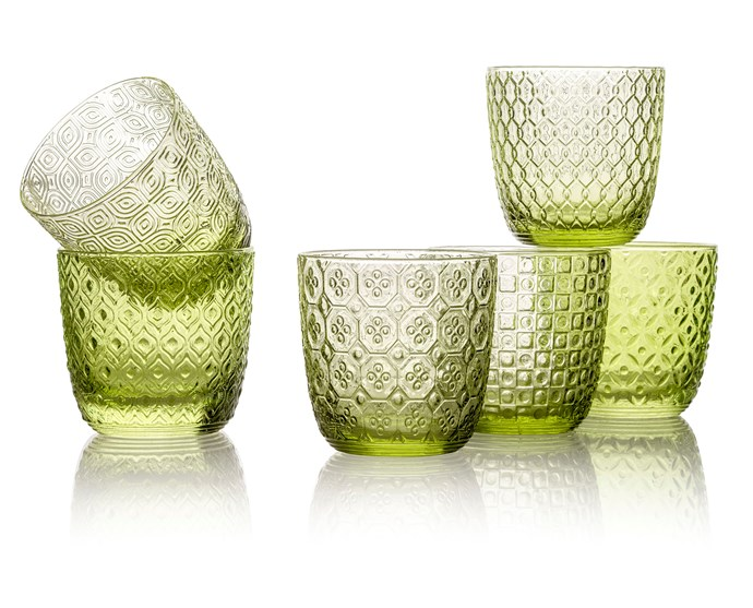 "These handmade, vintage-style tumblers will fit beautifully within a nature-inspired setting, indoors or out. Each glass in the set features a unique geometric pattern inspired by a 1960s icon, from Audrey Hepburn to Brigitte Bardot. <br><br> IVV 'Sixties' glasses in Leaf Green, $151/set of six, [Noritake](https://noritake.com.au/|target=""_blank""