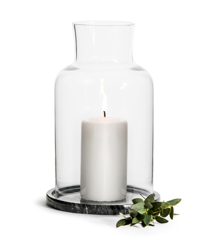 "Use the holder with the elegant candle included in the price, or pop in some small plants to customise your own botanical table display. Measuring 15cm in height, it features a solid round marble base and shapely glass top. <br><br> 'Marble' tealight holder, $70, [Mr and Mrs Jones](https://www.mrandmrsjones.com.au/|target=""_blank""