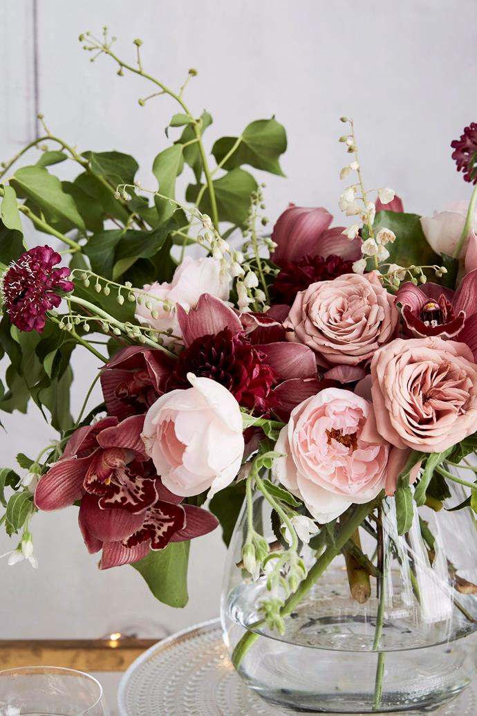 Mix tonal colours or colour block flowers to make a statement. Photo: Kristina Soljo