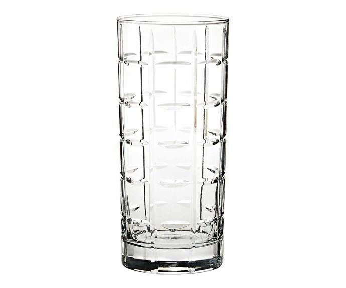"'Library' hand-cut highball glass, $16, [Pottery Barn](http://www.potterybarn.com.au/|target=""_Blank""|rel=""nofollow"")"