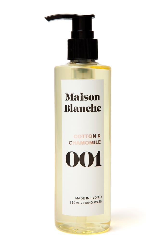 "001 Cotton & Chamomile Hand Wash, $25, [Maison Blanche](https://www.maisonblanche.com.au/001-cotton-chamomile-hand-wash|target=""_blank""|rel=""nofollow"")"