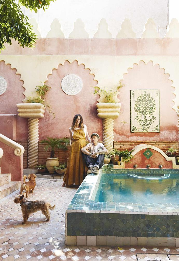 """**Courtyard** Much of Julien and Cyrielle's free time is spent enjoying the beautiful Moroccan light from the home's private courtyard and [pool](https://www.homestolove.com.au/15-of-the-best-backyard-pools-17823