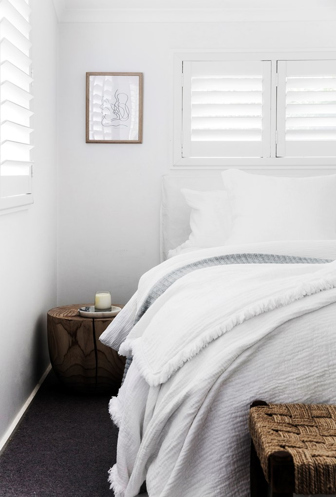 """Contemporary touches, such as a simple line drawing and slender full-length mirror, lend a sophisticated touch to the relaxed aesthetic. [Timber, wicker](https://www.homestolove.com.au/decorating-with-cane-and-wicker-furniture-4593