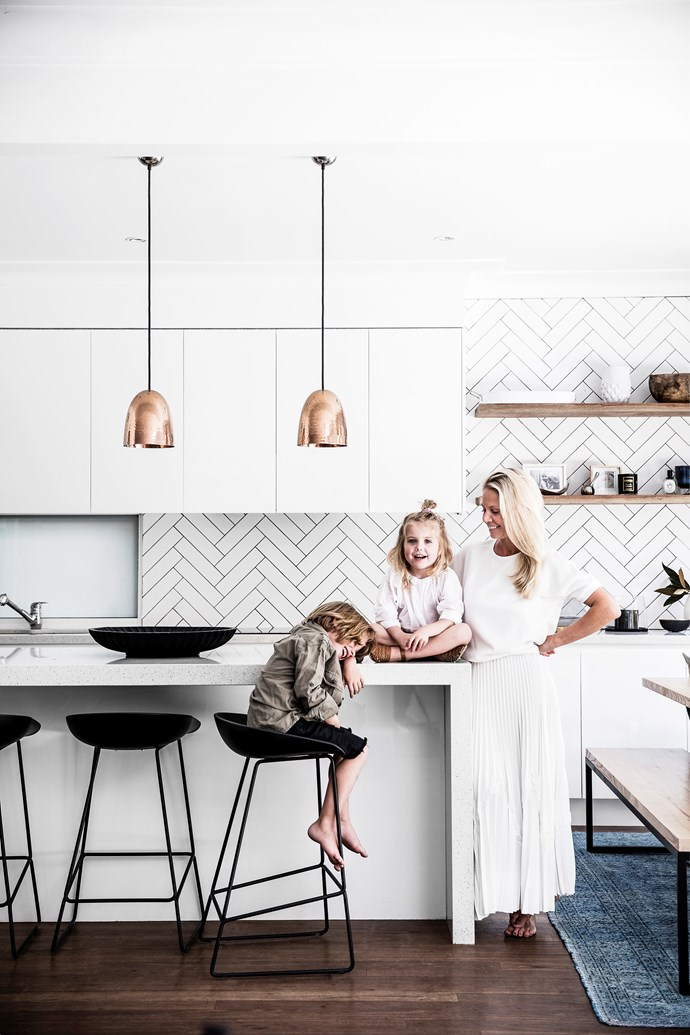 """With the ability to pull a room together as effortlessly as an outfit, studying interiors was a natural next step for Kristin. She describes her aesthetic as """"laidback, clean and as minimal as you can be with two babes and a puppy""""."""
