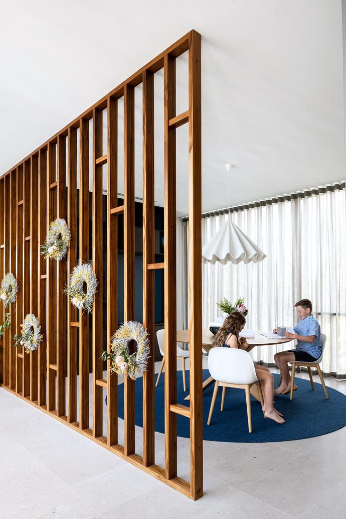 This timber-screened space is the children's dining zone when friends are over.