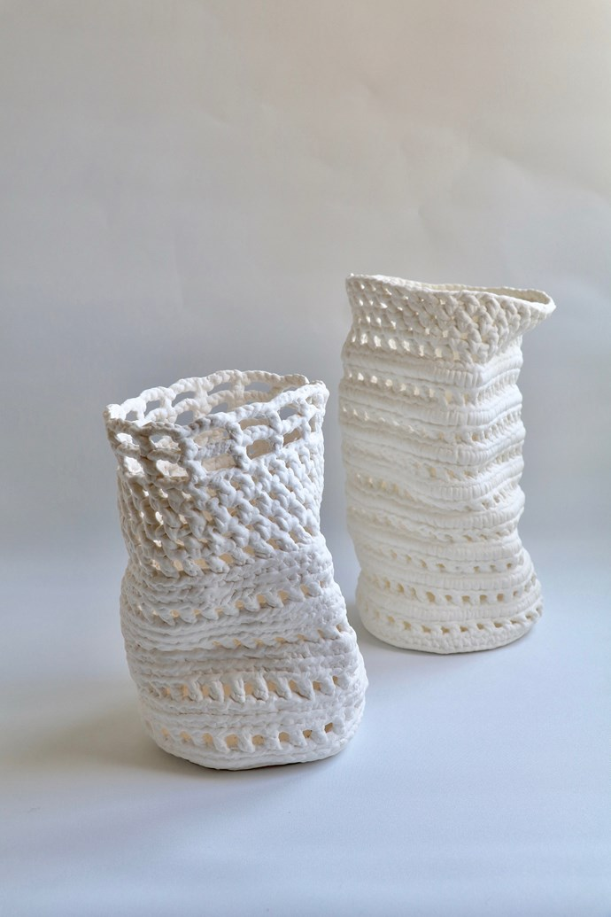 "Crotchet porcelain vessels: 'Interlace I' (left), $350 and 'Interlace II' (right), $390, [Liz Sofield](https://www.lizsofield.com/shop/|target=""_blank""
