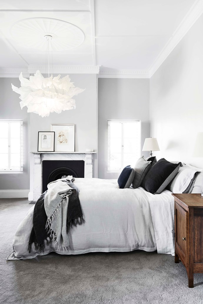 "A calming, monochromatic colour scheme was adopted for the master bedroom. The 'Fandango' pendant light is by [Hive](http://www.designbyhive.com/|target=""_blank""