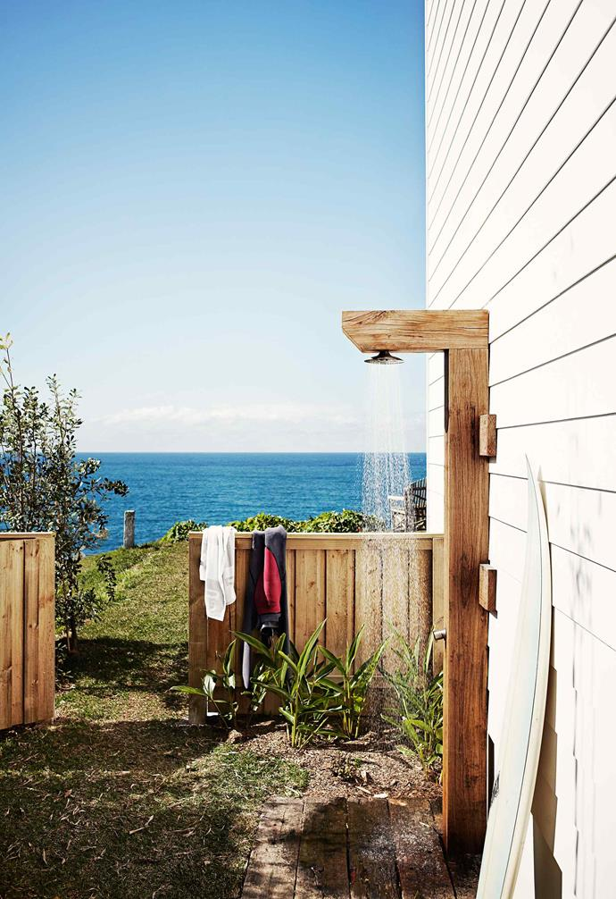 "If you're planning on adding [the perfect holiday vibe to your outdoor space](https://www.homestolove.com.au/how-to-give-your-outdoor-space-a-holiday-vibe-3437|target=""_blank"") an outdoor shower like this one could be the answer! The timber form complements the fencing in this backyard."