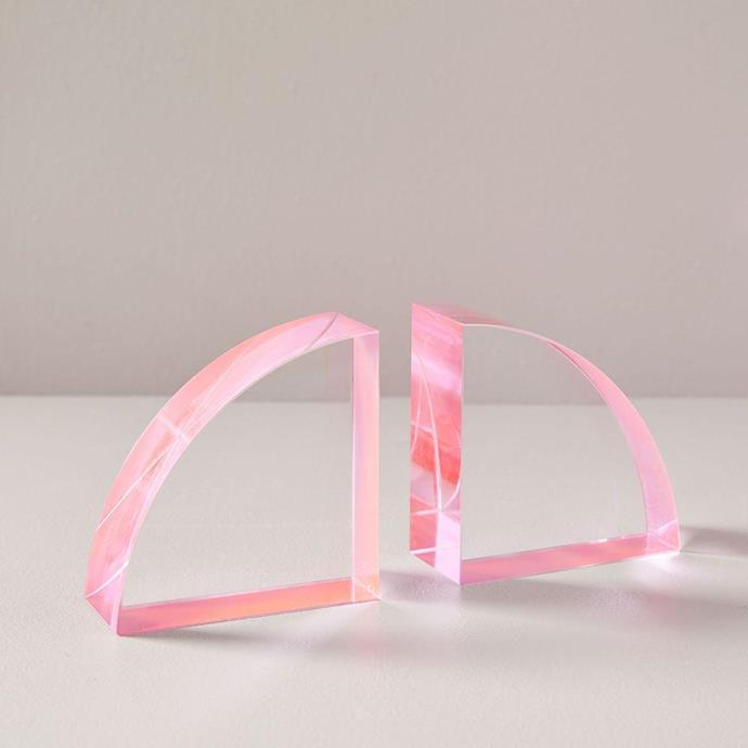 """'Colour pop' crystal **bookends**, $69, from [West Elm](http://www.westelm.com.au/color-pop-crystal-bookends-set-of-2-d5677?quantity=1&attribute_1=Pink