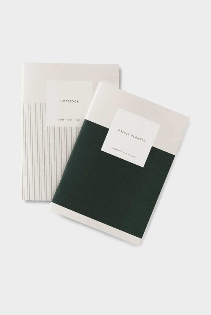 "Kartotek **weekly planner and notebook set**, $39.95, from [Milligram](https://milligram.com/kartotek-weekly-planner-notebook-set-undated-plain-a5-dark-green|target=""_blank""|rel=""nofollow"")."